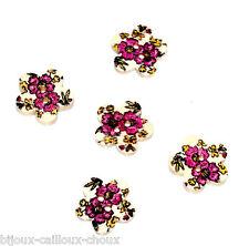1 LOT de 5 BOUTONS en BOIS forme fleur et motif floral rose 17mm button