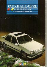 Vauxhall Opel Nova Astra Cavalier Manta Carlton Senator Oct-Dec 1986 UK Brochure