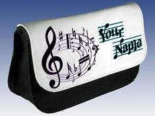 MUSIC MUSICAL NOTES PERSONALISED PENCIL CASE / DS HOLDER / MAKE UP BAG -FAB GIFT