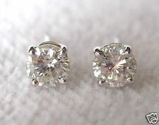 1/3 - 3/8 Ct Round Brilliant Cut 14K White Gold Diamond Stud Earrings Butterfly