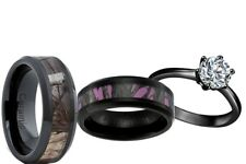 Black Stainless Engagement wedding ring set His Ceramic and Her Titanium Camo Cz