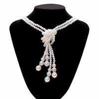 Women Multilayer Long Pearl Necklace Pendant Sweater Chain Jewelry Gift Necklace