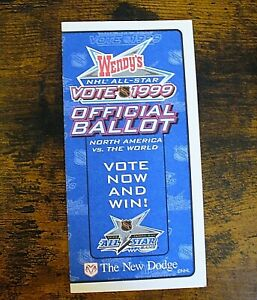 """NHL - Fan Voting """"1999 All-Star Game"""" Ballot - NEW"""