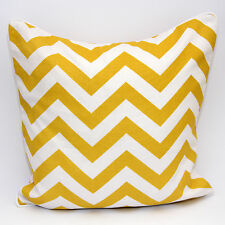 "100 Cotton Fabric CHEVRONE Cushion Covers Geometric Desin Zigzag Style in 18x18"" Chevorine Mustard"