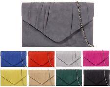 Ladies Faux Suede Clutch Bag Pleated Envelope Evening Bag Party Handbag KW308