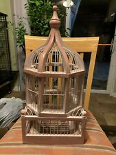 Bird Cage Wooden And Wired Oriental Design Pink And White Wash Design Table Top