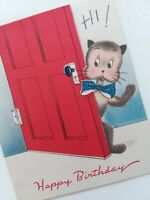 1940-50s Vtg Norcross CAT Opens Door Many KITTENS Happy BIRTHDAY GREETING CARD