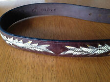 unisex brown snake skin decorated leather belt