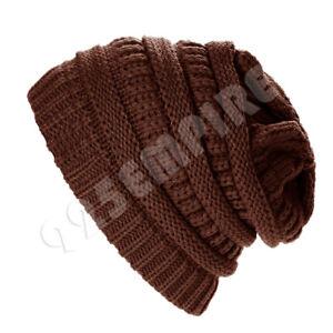 Men's Women's Knitted Skull Slouchy Baggy Beanie Oversize Winter Hat Ski Cap
