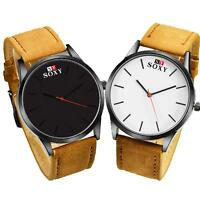 Luxuriös Mode Herren Armbanduhren Watch Kunstleder Analog Quartz Geschäft Uhr
