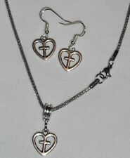 Heart and Cross Charm Earring and Necklace Set Stainless Steel Chain Handcrafted