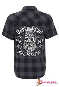 King Kerosin Ride Forever Karo Vintage Rockabilly Worker Shirt Hemd Motorsycle