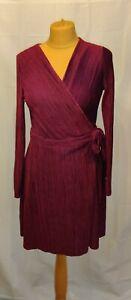 Topshop Dress UK 12 Dark Pink velvet Plisse Wrap Long Sleeved Mini Dress party
