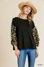 Umgee Black Floral Burnout Sleeve Waffle Knit Tie-Back Top