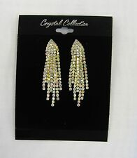 GOLD Iridescent Clear Rhinestone Crystal Dangle Earrings Wedding Prom Pageant
