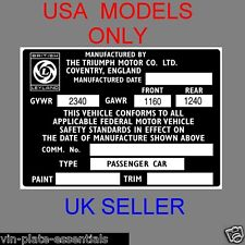 TRIUMPH SPITFIRE GT6 USA MODELS CHASSIS PLATE CAR ID @ VIN-PLATE-ESSENTIALS