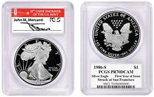 1986-S $1 Proof Silver Eagle PCGS PR70 MERCANTI First Year Of Issue San Fran