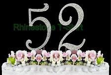 Large Rhinestone NUMBER (52) Cake Topper 52th Birthday Wedding Party Anniversary
