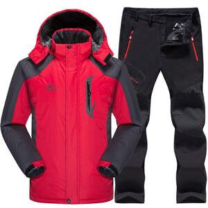 Ski Suit Set Jacket and Pants Waterproof Thermal Fleece Winter Snow Clothes Set