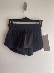 """NWT Lululemon Hotty Hot LR Short 2.5"""" - Size: 0 - Color: Black (BLK)"""