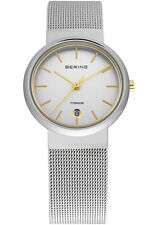 Bering Womens 11029-004 Classic White Dial Silver Titanium Mesh Band Ti Watch