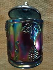 VINTAGE Carnival Glass Swirl Grapes Design Jar with Lid!!!  Beautiful!!