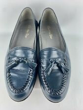Men's Christian Dior Navy Blue CalfSkin Flat Tassel Loafer Slip-on Shoes Size 8D