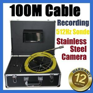 100M Snake Cable UnderWater Sewer Drain Pipe Recording Camera 512HZ Locator Sond