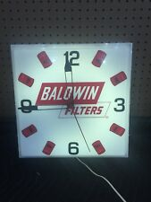 Vintage Gas Oil Shop Working Baldwin Filters Light Up Clock by Kolux
