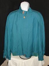 Men's Italian Fendi Teal Blue 100% Resin Silk Cloth Button Ft. Jacket Sz 50 / L