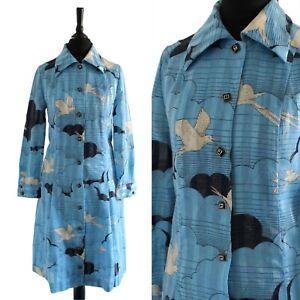 Vintage 1960s MOD Dress Blue NOVELTY Clouds Bird Pattern RETRO Scooter Dress S
