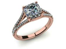 WEDDING D VS1 1.0 CARAT 14 K RED ROSE GOLD RADIANT DIAMOND RING ACCENTS WOMAN