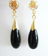 Fortune Stud Drop Earrings Black Agate Yellow Gold Plated