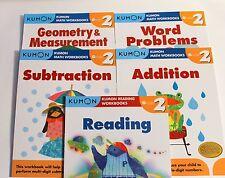 KUMON Workbooks Grade 2 Set: Math + Reading  (5 books) --FREE Shipping