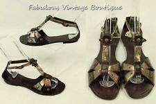 NAUGHTY MONKEY India Brown All Leather Gladiator Strappy Sandals Flat Shoes 6.5