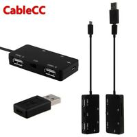 Cablecc Micro USB OTG Dual Port Hub & TF/SD Card Reader With Charge for Tablet