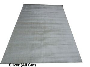 8'x10' Rug | Hand-Woven Prime Solid Cut Silver Color  Viscose Area Rug