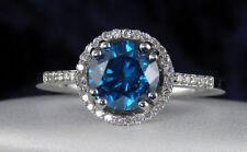 14k White Gold 1.20TCW Real Round Blue Solitaire Certified Diamond Wedding Ring