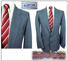 "Burton Vintage 2 piece mens suit Ch40""R W34"" L29"" Blue pinstripe Felted wool mix"