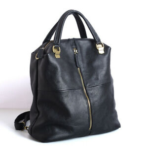 New Genuine Cowhide Leather Backpack Black Lady Fashion Travel Large Capacity