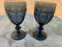 "Libbey DURATUFF Gibraltar Dusky Blue 6.75"" Glasses Water Goblets 12 oz Set Of 2"