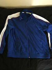 Starter Men's Large Track Jacket Blue And White EUC full zip very nice!