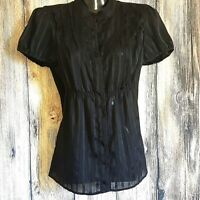Mossimo Black Strip Pin Tucked Ruched blouse Top Sheer Button size S Party