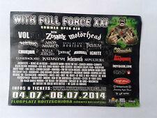 STICKER - WITH FULL FORCE - WFF 2014 Motörhead/Volbeat/Amon Amarth/Rob Zombie