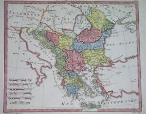 1806 NICE ORIGINAL MAP HUNGARY GREECE BULGARIA ROMANIA SERBIA DALMATIA MOLDOVA
