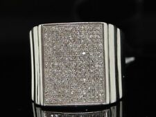 Diamond Pave Pinky Ring Mens .925 Sterling Silver Round Cut Design 0.76 Tcw.