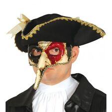 Da Uomo Naso Lungo Nero, Rosso e Oro Masquerade Maschera Halloween Maschera Veneziana