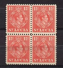 St Lucia 1938 GVI Early Issue Fine Mint Hinged 1.5d. Block 082835