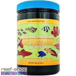 New Life Spectrum Optimum Flakes 90g Natural Color Enhancing Fish Food + Garlic