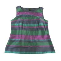 Talbots Womens Sz 8 Sleeveless Silk Shell Tank Top Navy Teal Green Striped MED